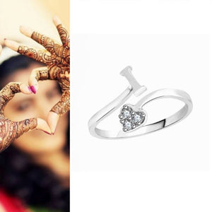 Initial 'I' Alphabet CZ Rhodium Plated Alloy Adjustable Ring for Women and Girls