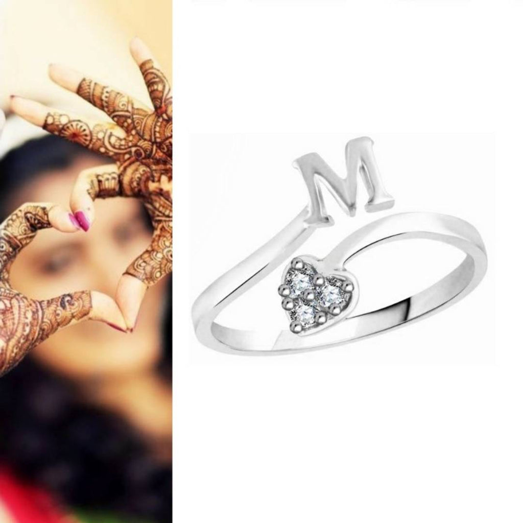 Initial 'M' Alphabet CZ Rhodium Plated Alloy Adjustable Ring for Women and Girls