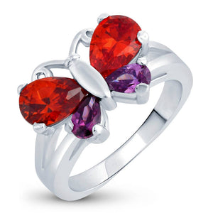 Charming Rhodium Plated Butterfly Ring For Women