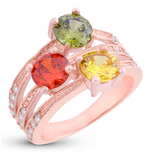 Graceful Swiss Zircon Gold Plated Ring For Women