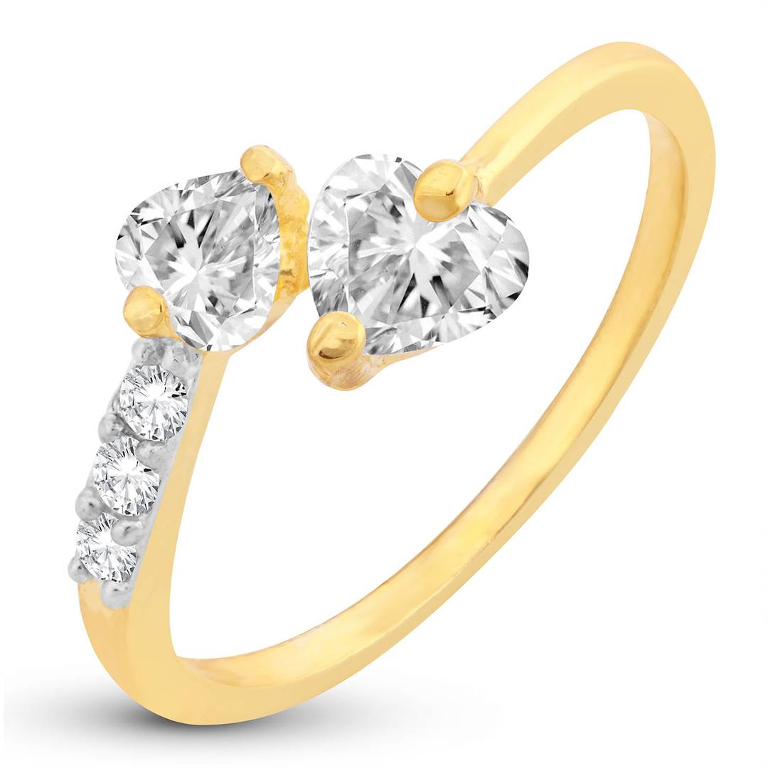 Resplendent Crystal Heart Cut Adjustable Gold Plated Ring For Women