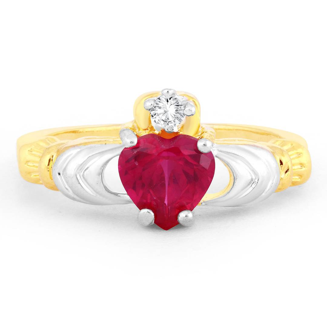 Attractive Elegant Cut Fire Opal Heart Gold Plated Ring For Women