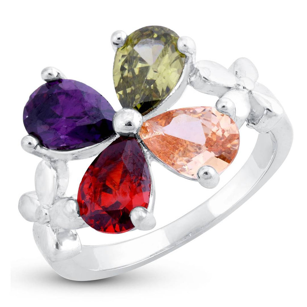 Exclusive Chunky Floral Rhodium Plated Ring For Women