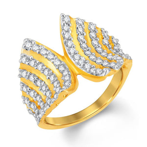 Exquisite Gold & Rhodium Plated Cubic Zirconia Ring