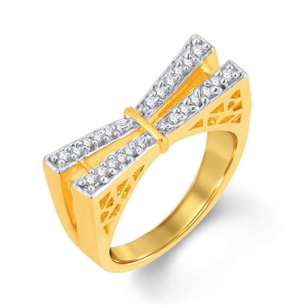 Creative Gold & Rhodium Plated Cubic Zirconia Ring