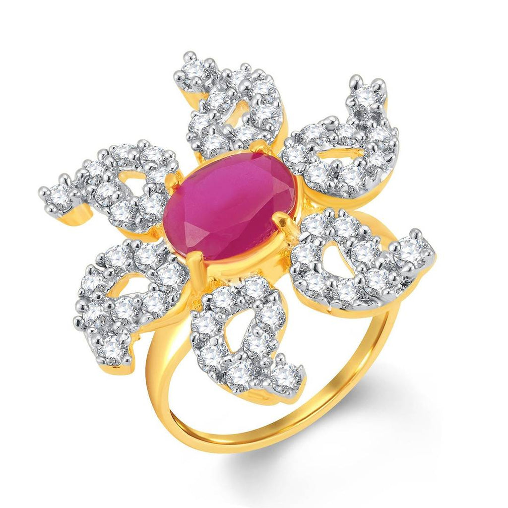 Glorious Gold & Rhodium Plated Cz And Ruby Studded Ring