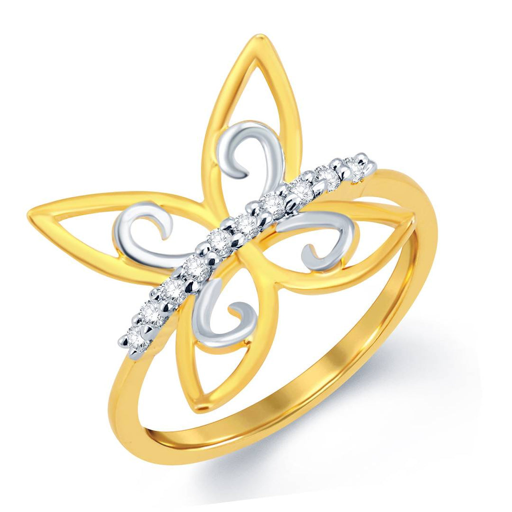 Butterfly Gold & Rhodium Plated Cz Ring
