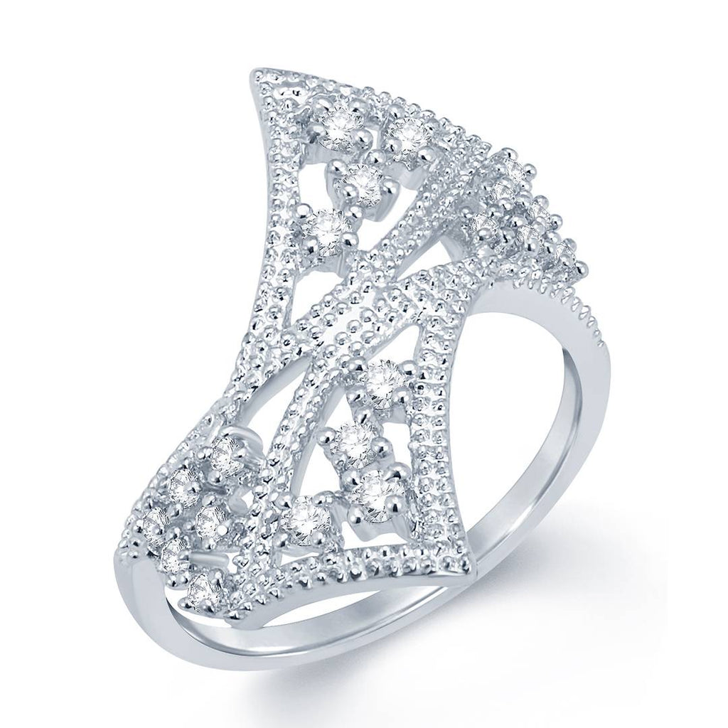 Sleek Rhodium Plated Cz Ring