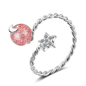 Attractive Pink Star and Moon Cubic Zirconia Rhodium Plated Ring for Women