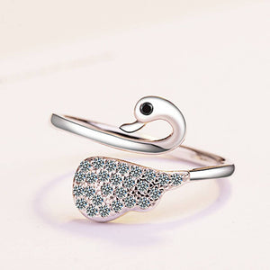 Exclusive  Swan Cubic Zirconia Rhodium Plated Ring for Women