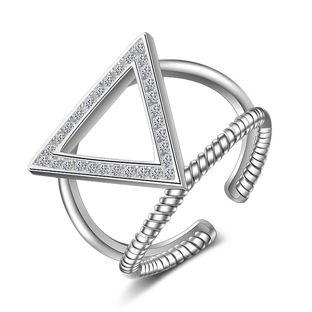 Adorable Triangle Rhodium Plated Ring for Women