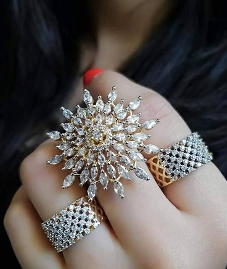 Trendy Alloy AD Adjustable Ring