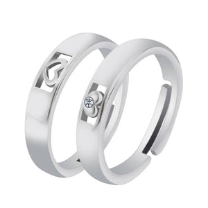 Silver Plated Elegant Adjustable Couple Rings