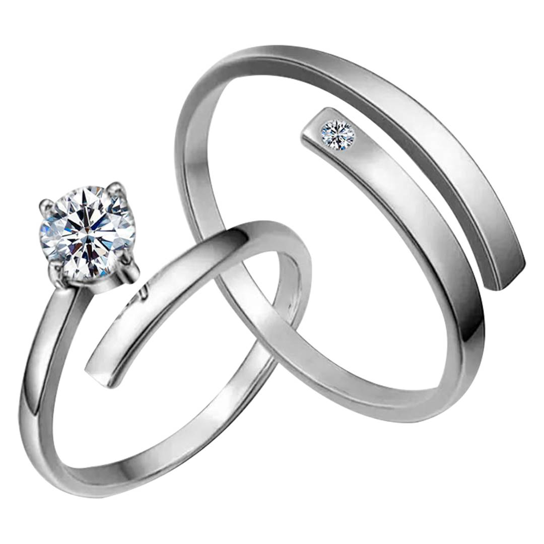 Silver-plated Amazing Solitaire His And Her Adjustable Proposal Couple Ring For Men And Women Jewelry