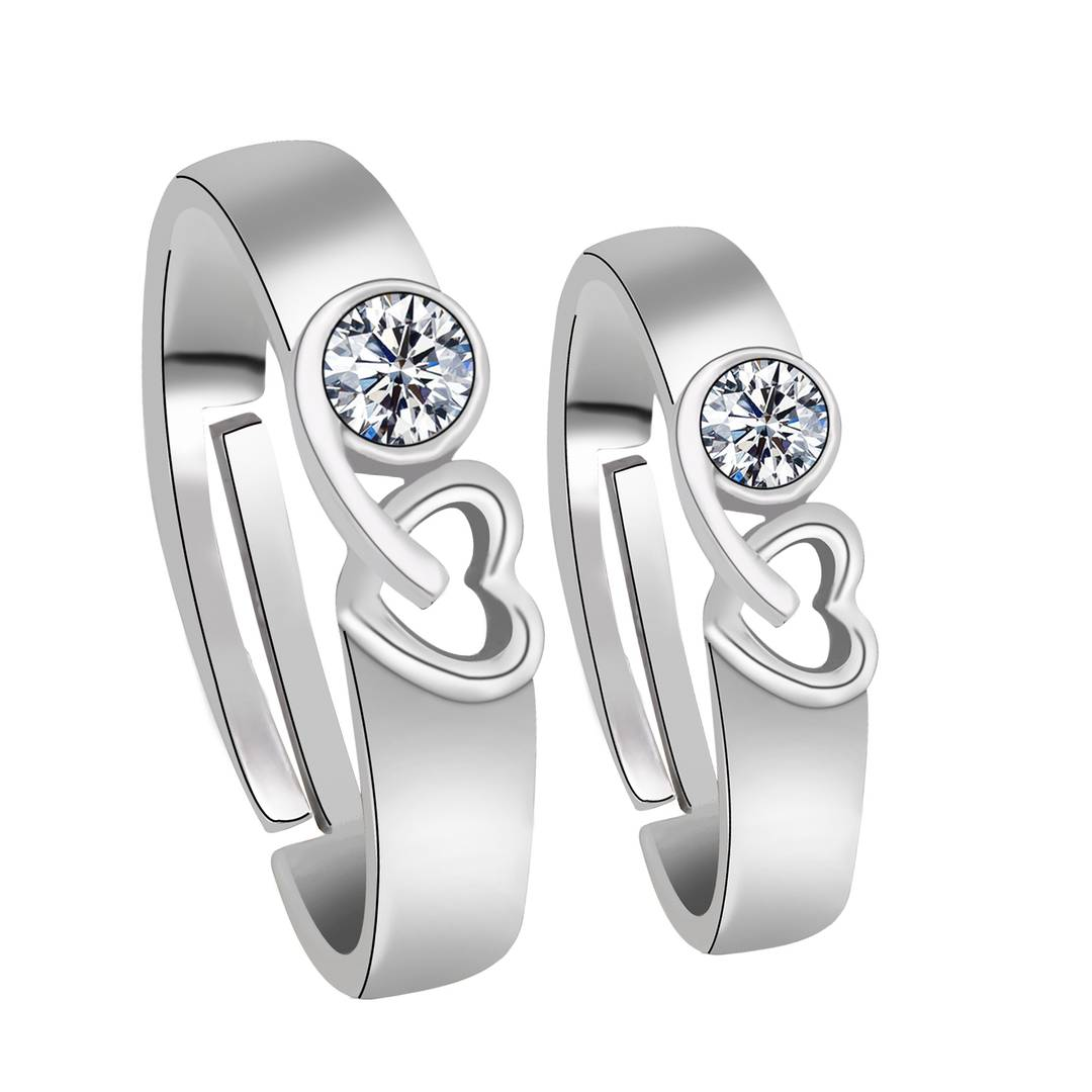 Silver-plated Exclusive Heart Design With Solitaire Diamond His And Her Adjustable Proposal Couple Ring For Men And Women Jewelry