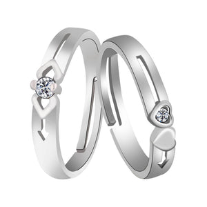Silver-plated Antique Solitaire  His And Her Adjustable Proposal Couple Ring For Men And Women Jewelry