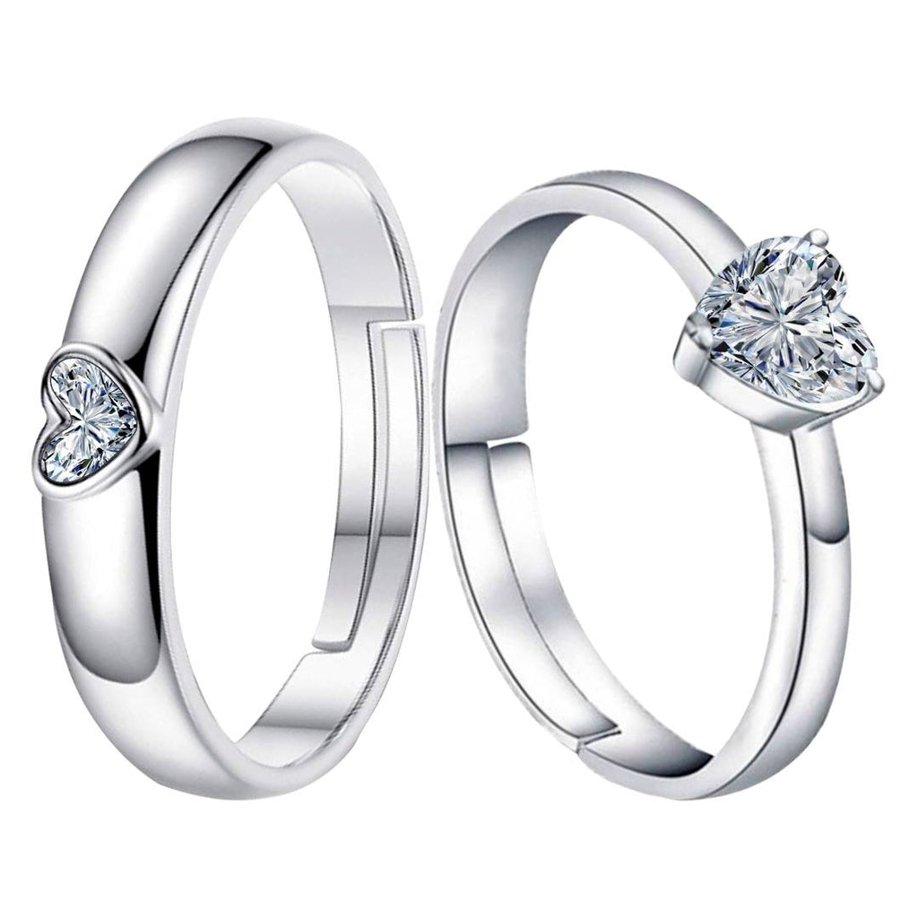 Silver-plated Heart Solitaire His And Her Adjustable Proposal Diamond Couple Ring For Men And Women Jewelry