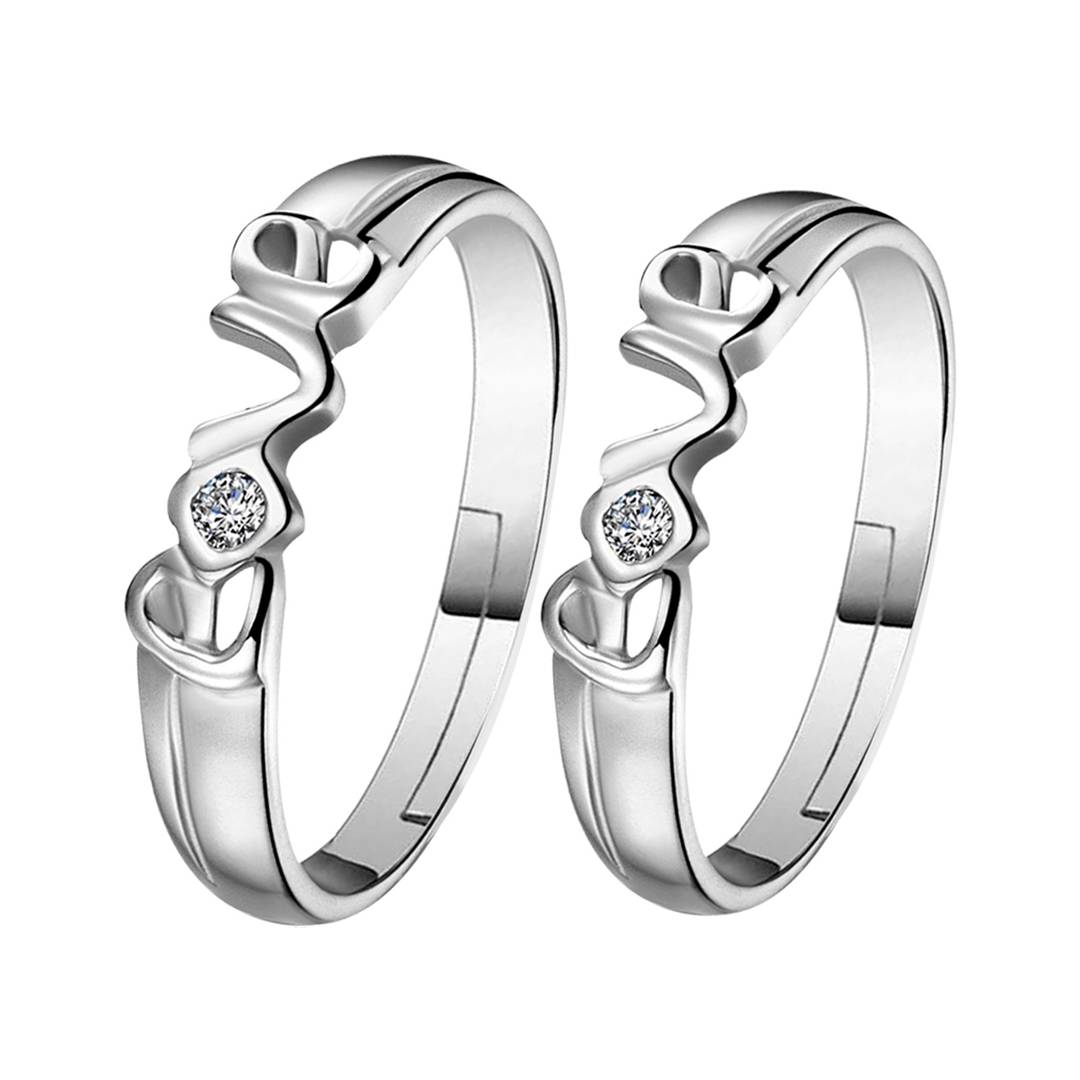 Silver-plated  Square And Round Solitaire His And Her Adjustable Proposal Diamond Couple Ring For Men And Women Jewelry