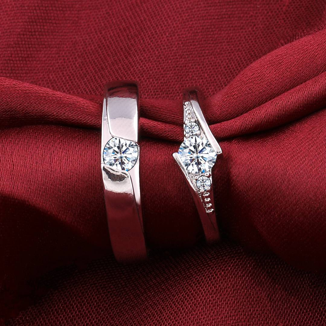 Silver-plated Gorgeous Diamond  His And Her Adjustable Proposal Diamond Couple Ring For Men And Women Jewelry