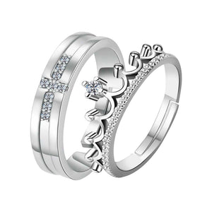 Silver-plated  Exclusive His And Her Adjustable Proposal Couple Ring For Men And Women Jewelry