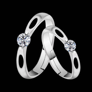 Silverplated Solitairewith 2 Oval Grooved His And Her Adjustable Proposal Couple Ring For Men And Women Jewellery