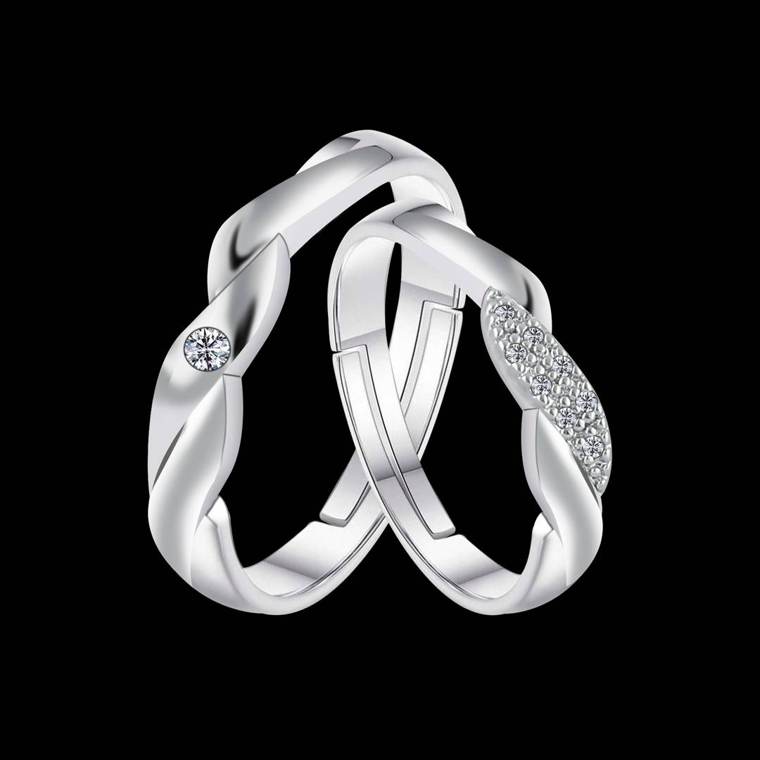 Silverplated Ideal Solitaire Love His And Her Adjustable Proposal Couple Ring For Men And Women Jewellery