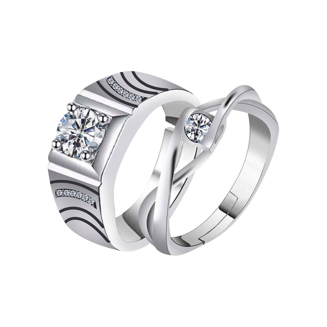 Trendy Designer Alloy Couple Ring Combo