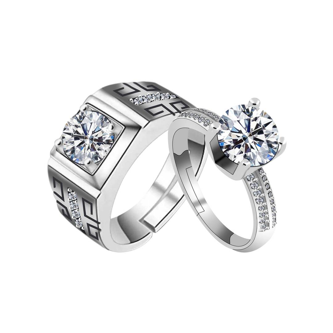 Silver Plated With Round Crystal Diamond And Magnificent Designer Adjustable Couple Ring For Men And Women.