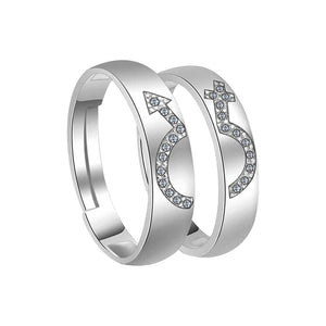Silver Plated Attractive Antique Design With Diamond Adjustable Couple Ring For Men And Women.