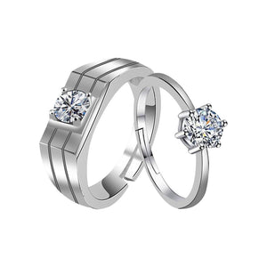 Silver Plated Winsome And Withstand Design With Round Pretty Diamond Adjustable Couple Ring For Men And Women.