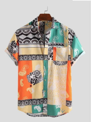 Men's Multicoloured Polycotton Printed Short Sleeves Regular Fit Casual Shirt