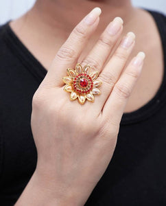 Red & Gold Trendy Designer Alloy Ring