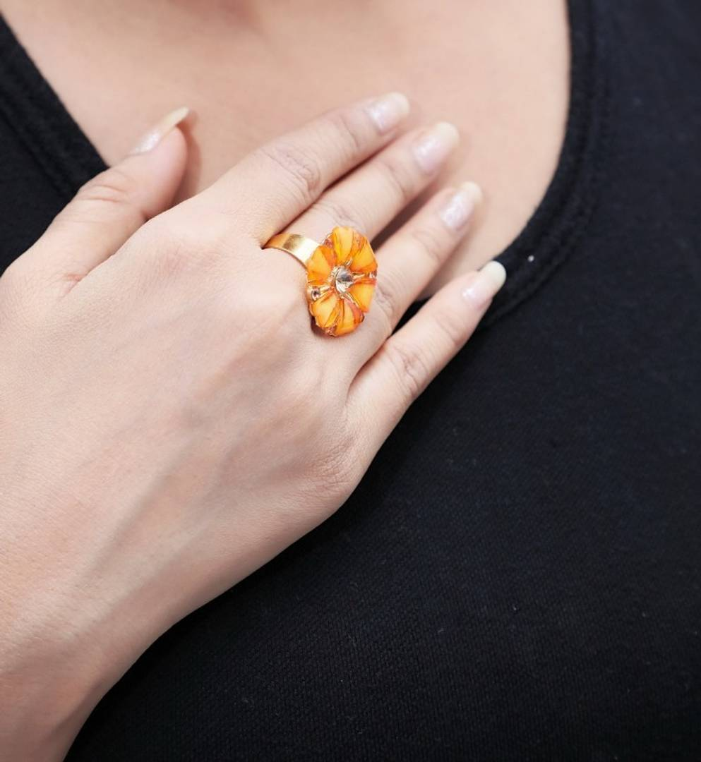 Yellow Flower Designer Alloy Ring