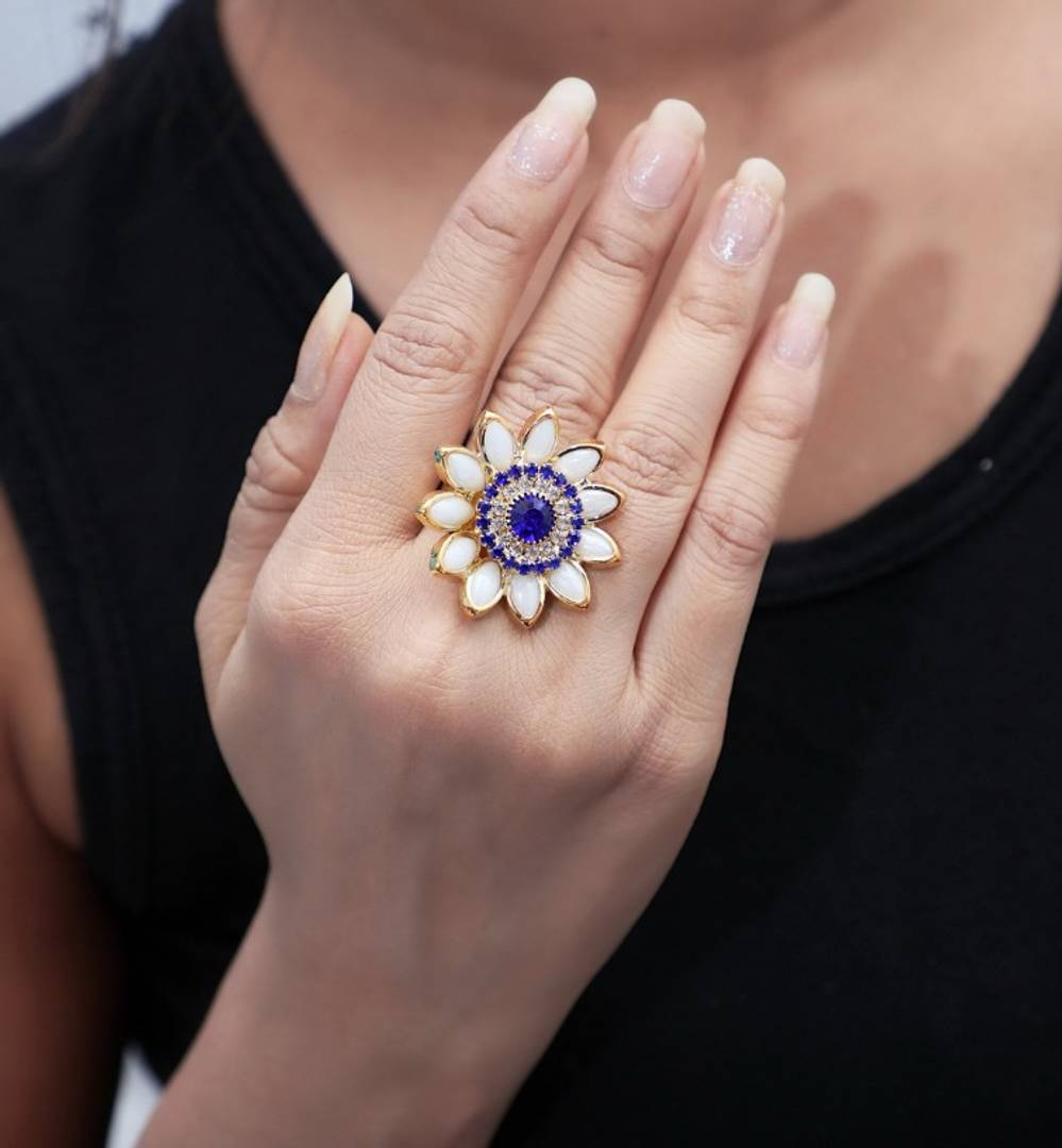 Purple & White Trendy Designer Alloy Ring