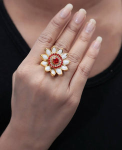 Red & White Flower Designer Alloy Ring