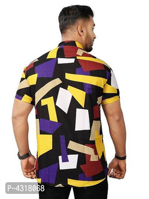 Trendy Patches Satin Blend Printed Casual Shirt For Men