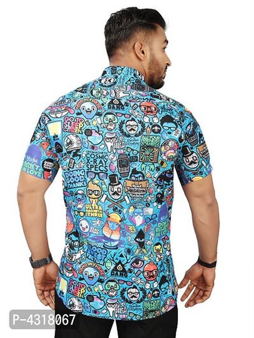 Graffiti Satin Blend Printed Casual Shirt For Men