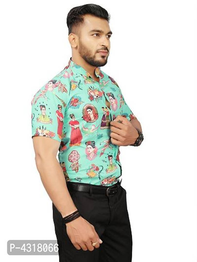Trendy Tribal Multicoloured Satin Blend Printed Casual Shirt For Men