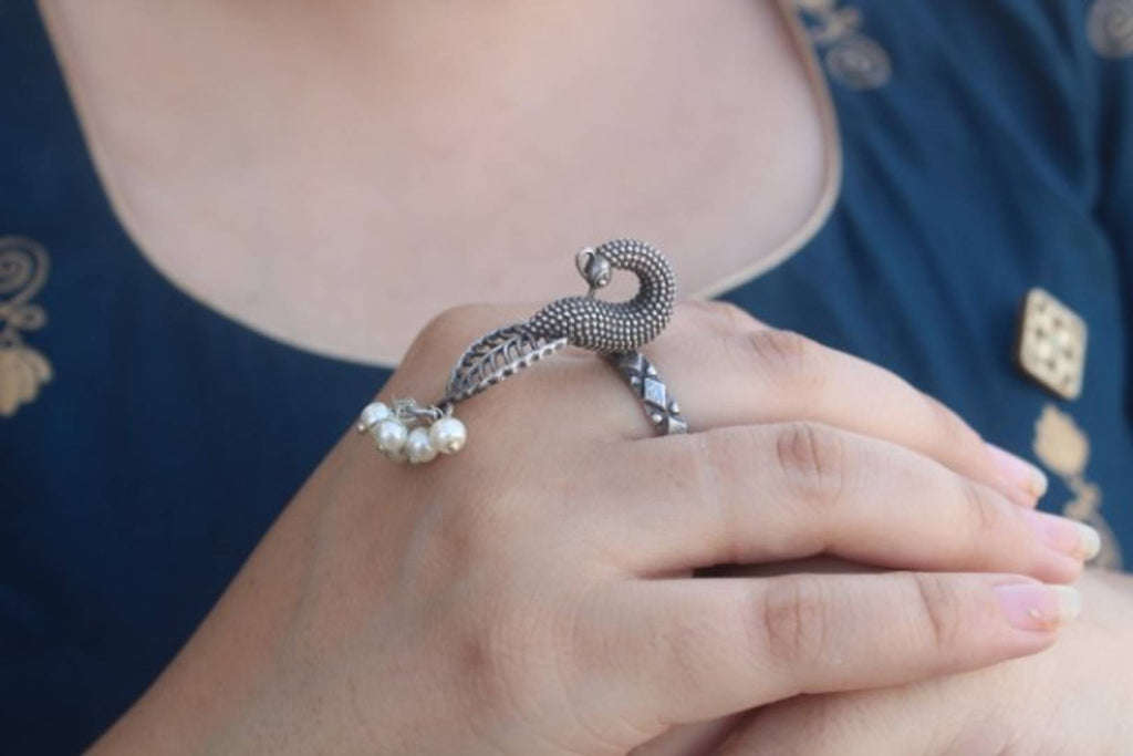 Antique Silver Oxidized Peacock Ring