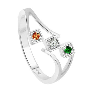 Three Stone Indian Flag CZ  Rhodium Plated Alloy Ring for Women