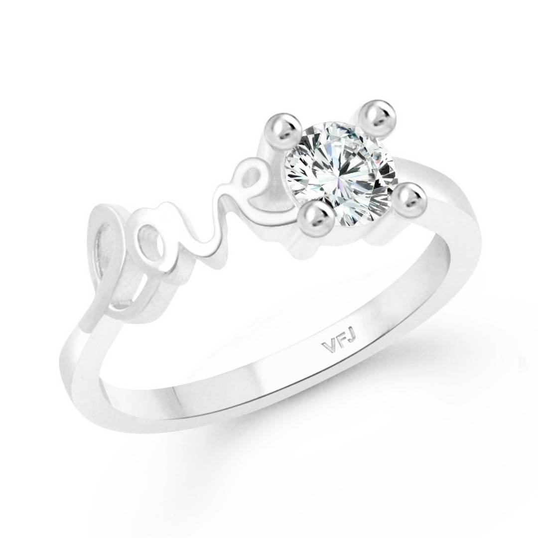 Love Sign CZ Rhodium Plated Alloy Finger Ring for Women