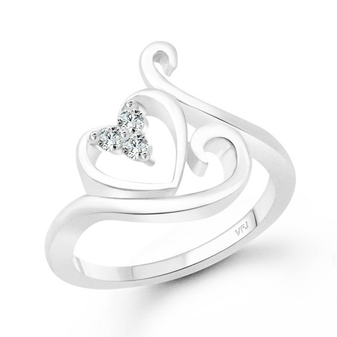 Swag Heart CZ Rhodium Plated Alloy Ring for Women