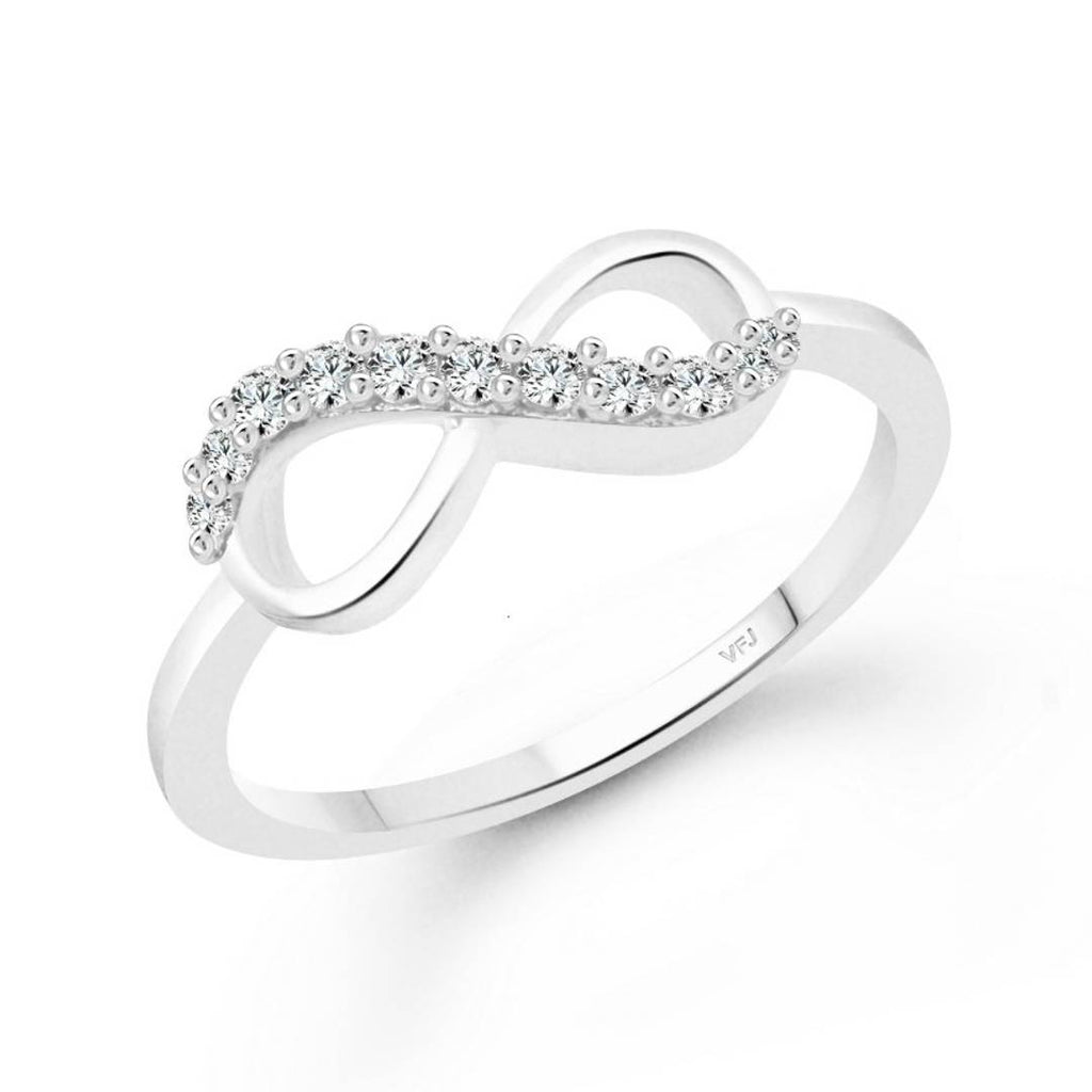 Promise CZ Rhodium Plated Alloy Ring for Women