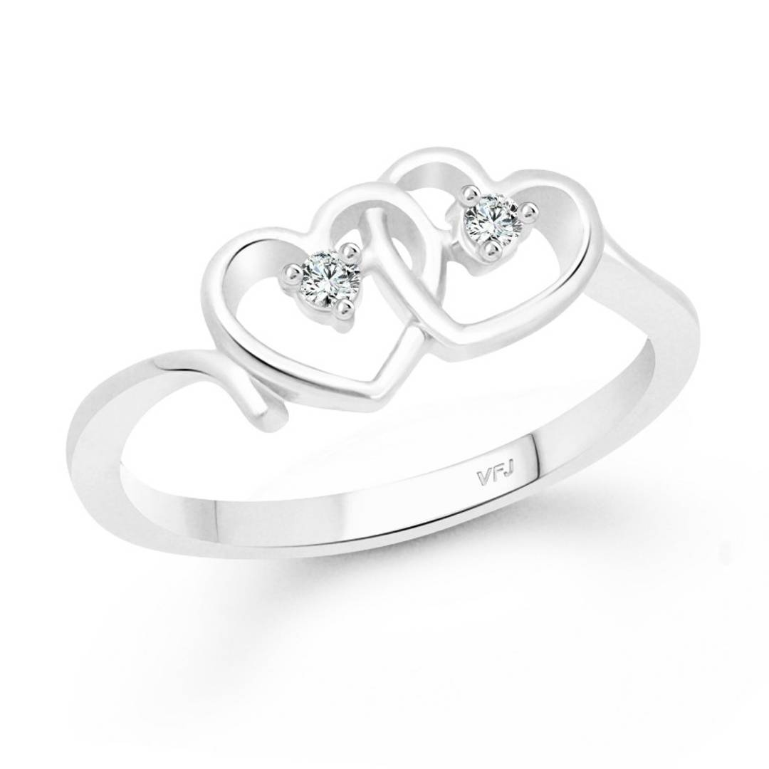 Dual Couple Heart CZ Rhodium Plated Alloy Ring for Women