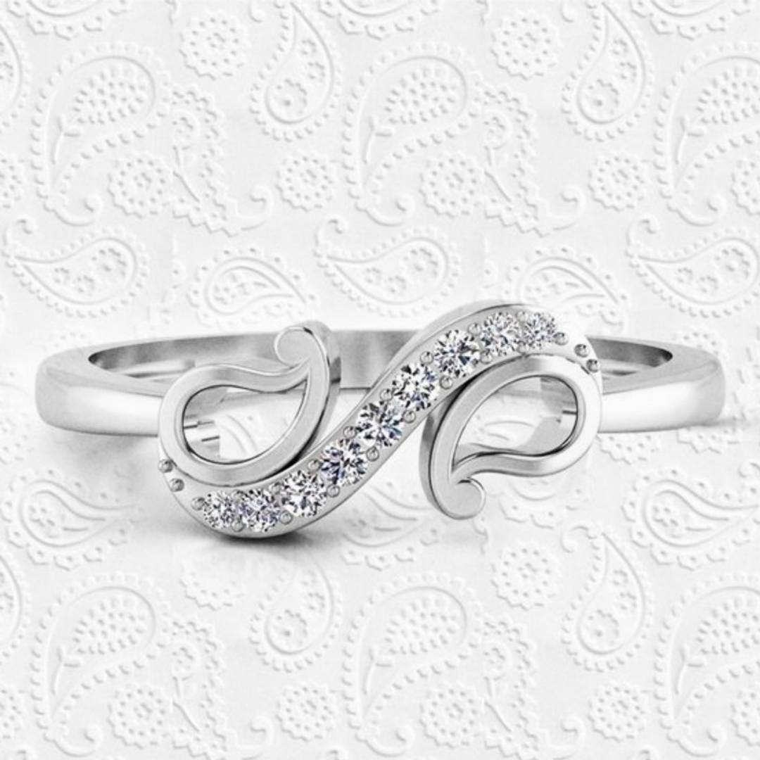 Shagun cz Rhodium Plated Alloy Ring for Women