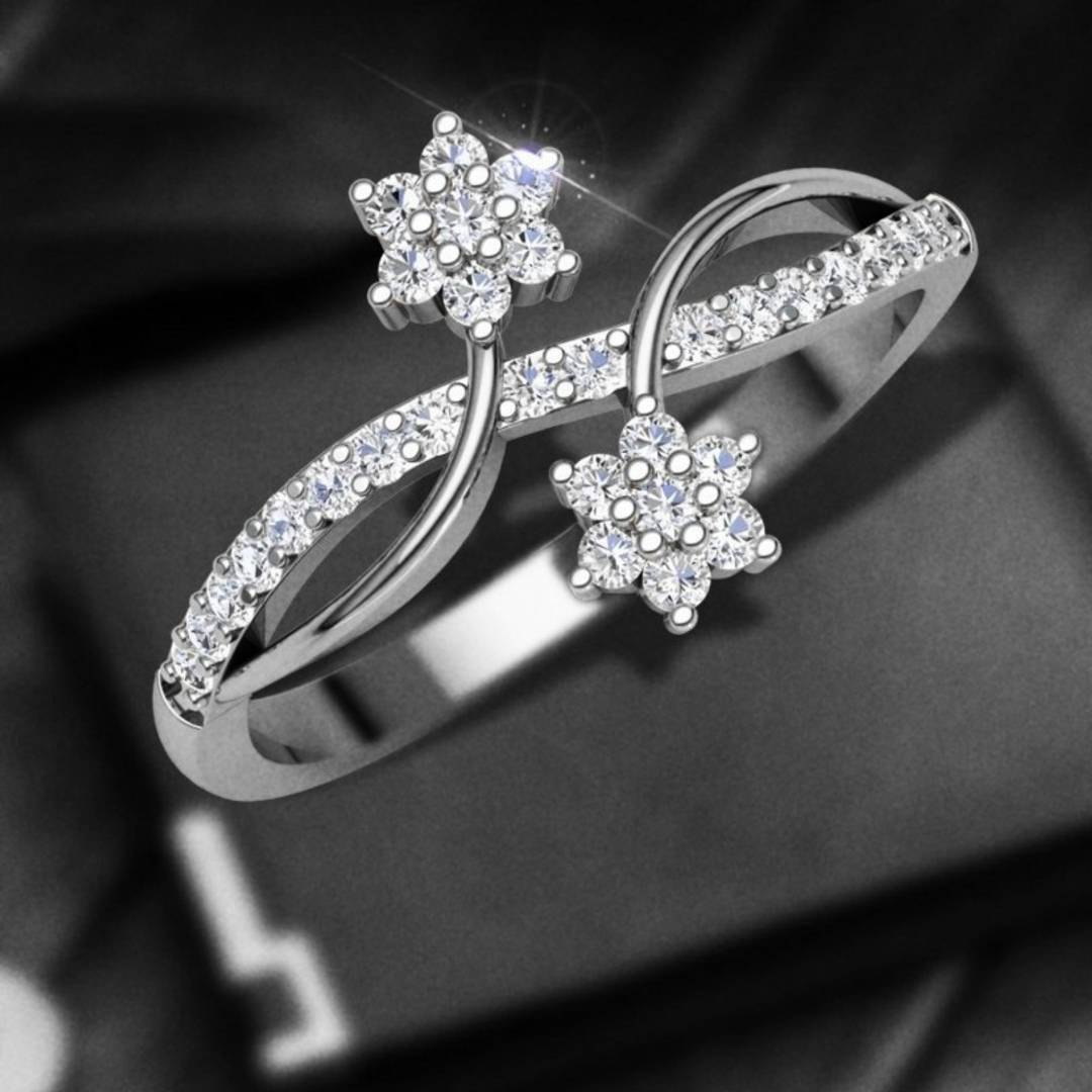 Dia Couple Flower cz Rhodium Plated Alloy Ring for Women and Girls