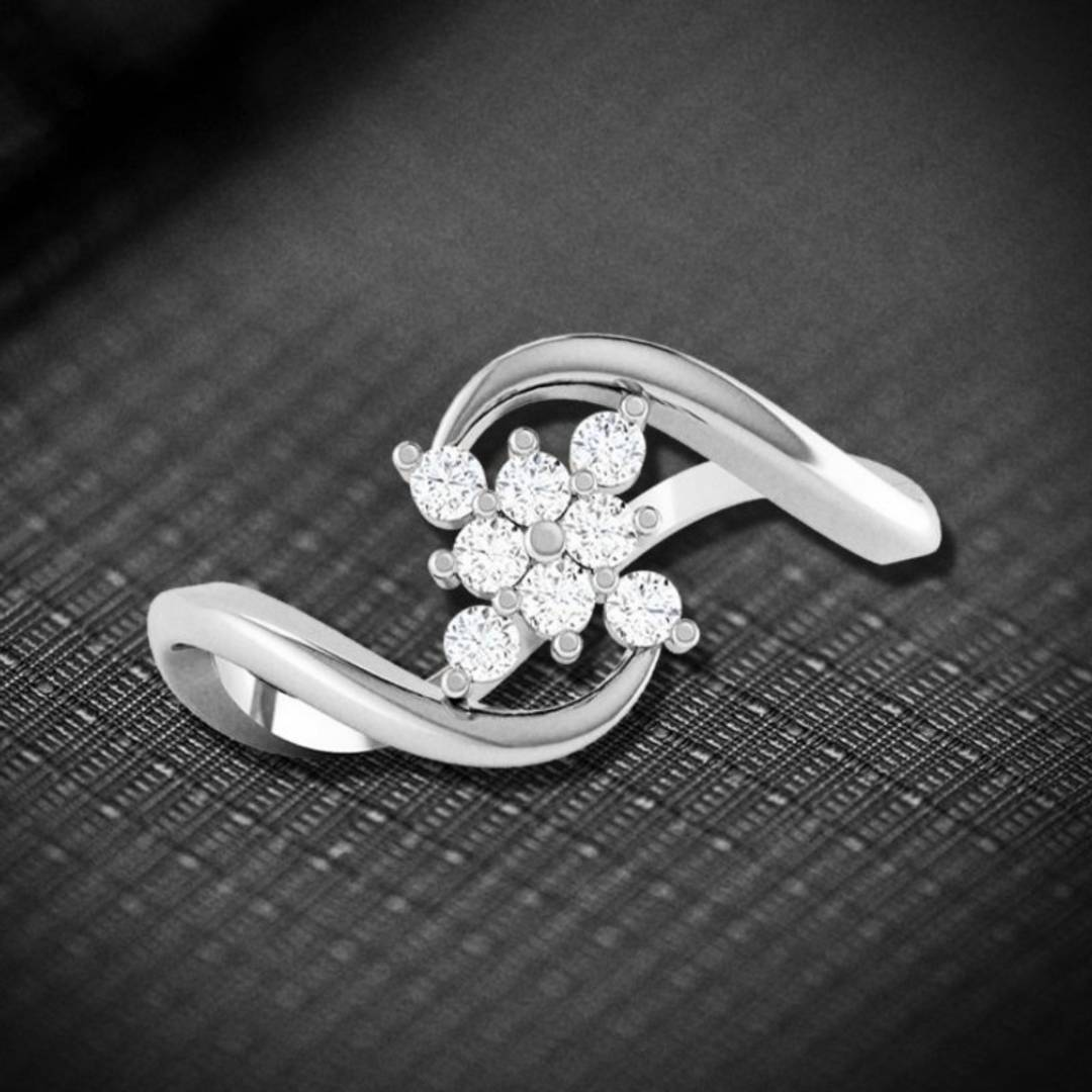 Trendy Flower cz Rhodium Plated Alloy Ring for Women