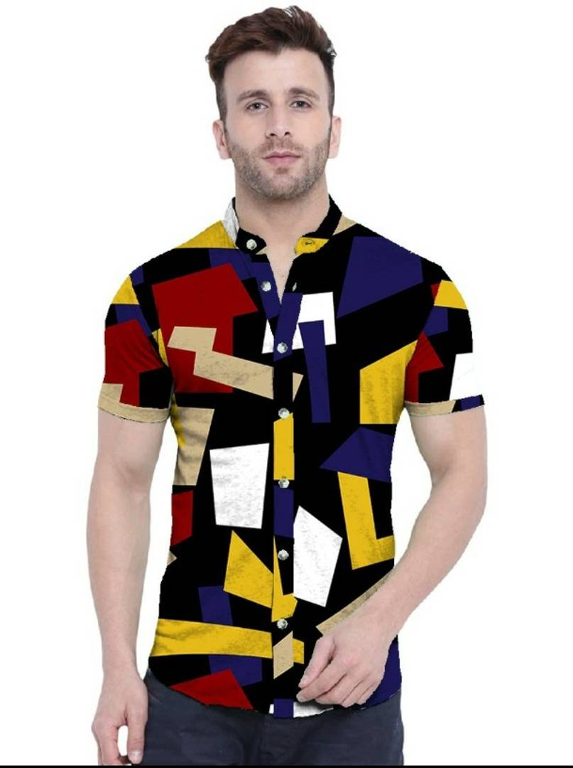 Trendy Patches Satin Blend Printed Half Sleeves Shirt For Men