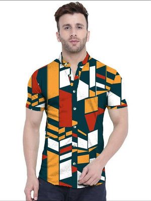 Stylish Polycotton Printed Half Sleeves Shirt For Men