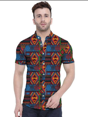 Tribal Satin Blend Printed Half Sleeves Shirt For Men